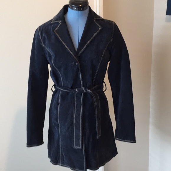 d0621b103 Wilsons Leather Maxima navy suede trench jacket